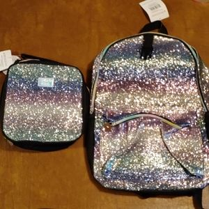 NWT Limited Too sparkly bookbag with lunchbag